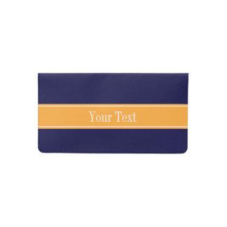 Solid Navy Blue, Cantaloupe Ribbon Name Monogram Checkbook Cover