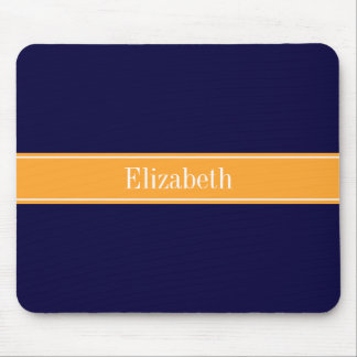 Solid Navy Blue, Cantaloupe Ribbon Name Monogram Mouse Pad