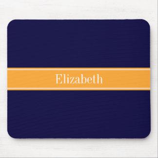 Solid Navy Blue, Cantaloupe Ribbon Name Monogram Mouse Pad