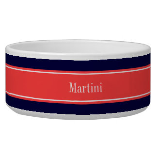 Solid Navy Blue Coral Red Ribbon Name Monogram Bowl
