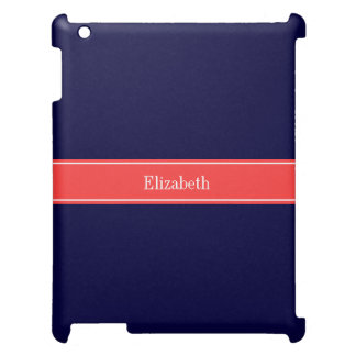 Solid Navy Blue Coral Red Ribbon Name Monogram iPad Cover