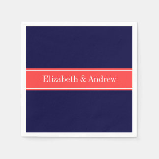 Solid Navy Blue Coral Red Ribbon Name Monogram Napkin