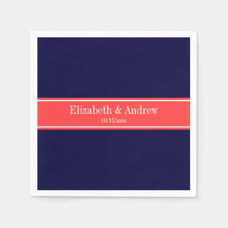 Solid Navy Blue Coral Red Ribbon Name Monogram Disposable Napkins