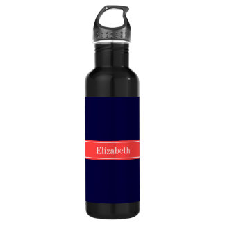 Solid Navy Blue Coral Red Ribbon Name Monogram Water Bottle
