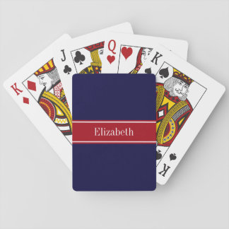 Solid Navy Blue Cranberry Red Ribbon Name Monogram Poker Cards