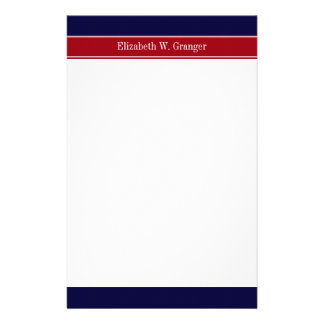 Solid Navy Blue Cranberry Red Ribbon Name Monogram Stationery