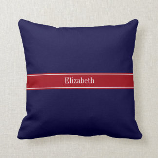 Solid Navy Blue Cranberry Red Ribbon Name Monogram Throw Pillow