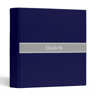 Solid Navy Blue, Dark Gray Ribbon Name Monogram 3 Ring Binder