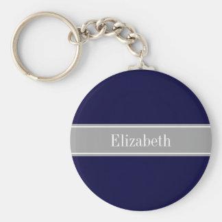 Solid Navy Blue, Dark Gray Ribbon Name Monogram Key Chain