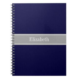 Solid Navy Blue, Dark Gray Ribbon Name Monogram Notebook
