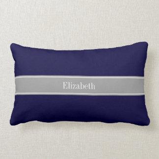 Solid Navy Blue, Dark Gray Ribbon Name Monogram Pillow