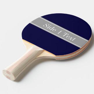 Solid Navy Blue, Dark Gray Ribbon Name Monogram Ping Pong Paddle