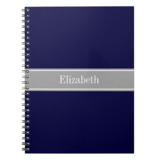 Solid Navy Blue, Dark Gray Ribbon Name Monogram Spiral Notebook