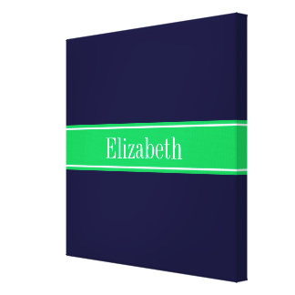 Solid Navy Blue Emerald Green Ribbon Name Monogram Canvas Print