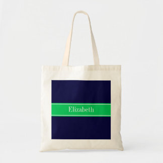 Solid Navy Blue Emerald Green Ribbon Name Monogram Tote Bag