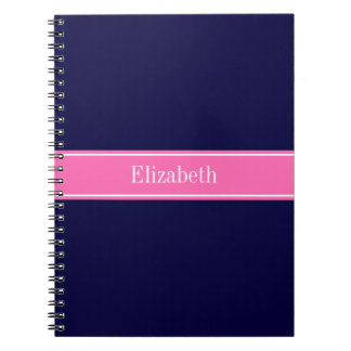 Solid Navy Blue Hot Pink #2 Ribbon Name Monogram Spiral Note Books