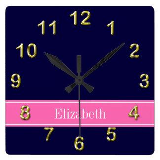 Solid Navy Blue Hot Pink #2 Ribbon Name Monogram Square Wall Clock