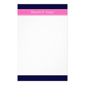 Solid Navy Blue Hot Pink #2 Ribbon Name Monogram Stationery