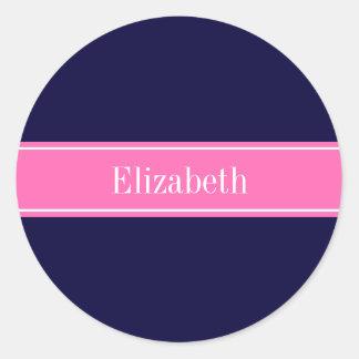 Solid Navy Blue Hot Pink #2 Ribbon Name Monogram Round Sticker