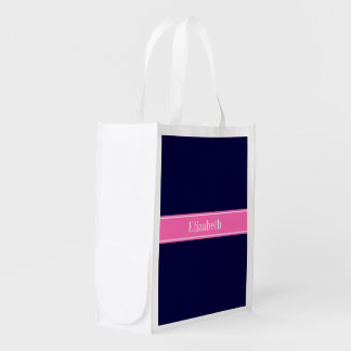 Solid Navy Blue Hot Pink #2 Ribbon Name Monogram Reusable Grocery Bags