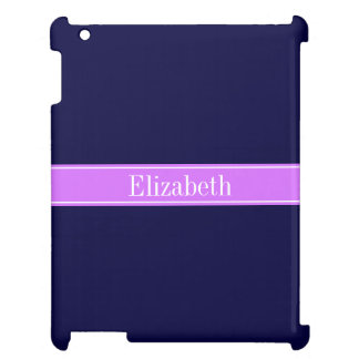 Solid Navy Blue, Lilac Ribbon Name Monogram iPad Cover