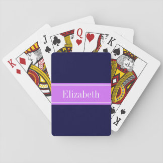 Solid Navy Blue, Lilac Ribbon Name Monogram Playing Cards