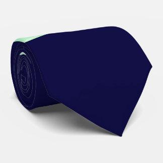 Solid Navy Blue, Mint Ribbon Name Monogram Neck Tie