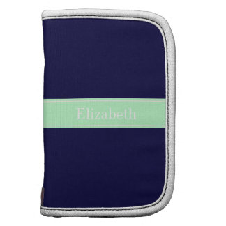 Solid Navy Blue, Mint Ribbon Name Monogram Planner