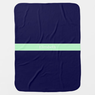 Solid Navy Blue, Mint Ribbon Name Monogram Receiving Blanket
