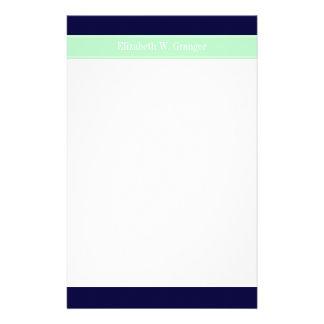 Solid Navy Blue, Mint Ribbon Name Monogram Stationery