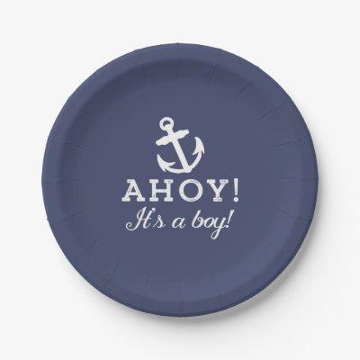 sc 1 st  Zazzle & Nautical Ahoy Itu0027s A Boy Baby Shower Paper Plates | Zazzle.com