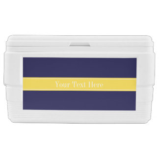Solid Navy Blue, Pineapple Ribbon Name Monogram Cooler