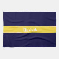 Solid Navy Blue, Pineapple Ribbon Name Monogram Hand Towel