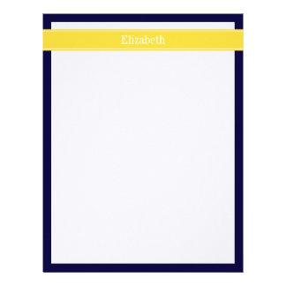 Solid Navy Blue, Pineapple Ribbon Name Monogram Letterhead