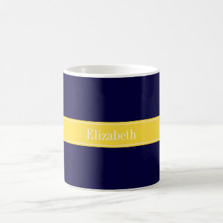 Solid Navy Blue, Pineapple Ribbon Name Monogram Mugs