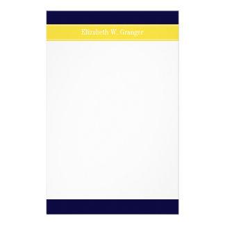 Solid Navy Blue, Pineapple Ribbon Name Monogram Stationery