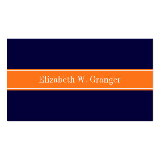 Solid Navy Blue, Pumpkin Ribbon Name Monogram Double-Sided Standard Business Cards (Pack Of 100)