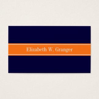 Solid Navy Blue, Pumpkin Ribbon Name Monogram Business Card