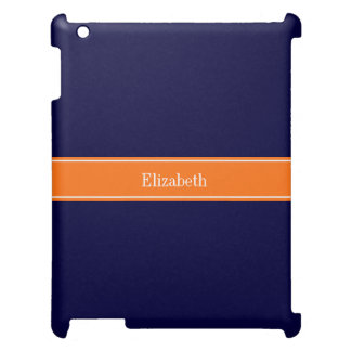 Solid Navy Blue, Pumpkin Ribbon Name Monogram Case For The iPad 2 3 4