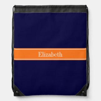 Solid Navy Blue, Pumpkin Ribbon Name Monogram Drawstring Backpack