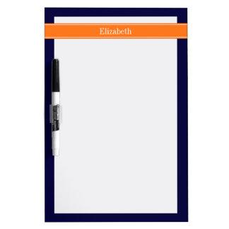 Solid Navy Blue, Pumpkin Ribbon Name Monogram Dry-Erase Whiteboards