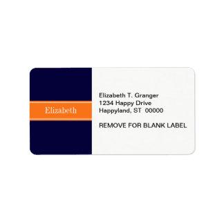 Solid Navy Blue, Pumpkin Ribbon Name Monogram Label
