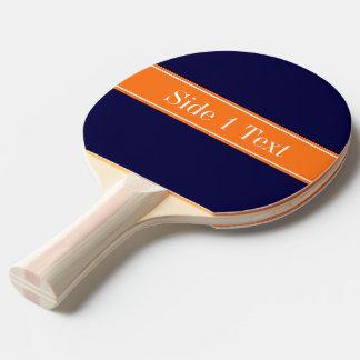 Solid Navy Blue, Pumpkin Ribbon Name Monogram Ping-Pong Paddle