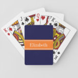 "Solid Navy Blue, Pumpkin Ribbon Name Monogram Playing Cards<br><div class=""desc"">Solid Navy Blue Background, Pumpkin Orange Ribbon Name Monogram Customize this with your name, monogram or other text. You can also change the font, adjust the font size and font color, move the text, add additional text fields, etc. Please note that this is a digitally created graphic design that&#39;s transferred...</div>"