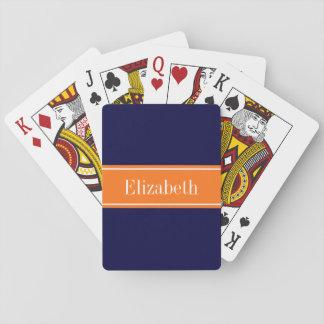 Solid Navy Blue, Pumpkin Ribbon Name Monogram Playing Cards