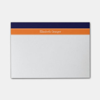 Solid Navy Blue, Pumpkin Ribbon Name Monogram Post-it Notes