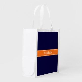Solid Navy Blue, Pumpkin Ribbon Name Monogram Reusable Grocery Bags