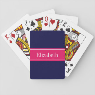 Solid Navy Blue, Raspberry Ribbon Name Monogram Playing Cards