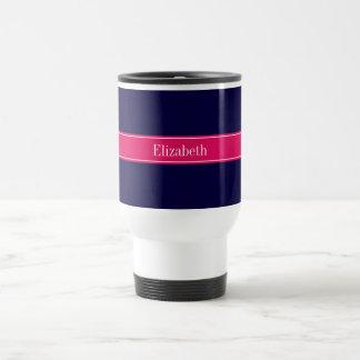 Solid Navy Blue, Raspberry Ribbon Name Monogram Travel Mug