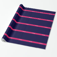 Solid Navy Blue, Raspberry Ribbon Name Monogram Wrapping Paper